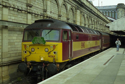 47744 is seen on arrival at Edinburgh with 1Z36 0630 'Green Express' charter from Yarm (29/05/2000)