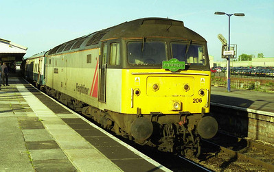 Pathfinder ran a 'Freightliner' tour from Southampton to the Open Day at Crewe Works. 47206 'The Morris Dancer' was the traction for the outward run, and is seen here at Westbury (20/05/2000)