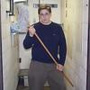 Justin wields a mop