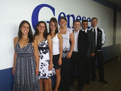 2007-2008 Genesee Hall Residence Life Staff posing in black and white attire for a fancy event in the Union! L-R: Katie Deierlein, Kim Skeggs, Kelly McGarry, Cara James, John O'Hara, Vincent Cannataro, Stephen Allen