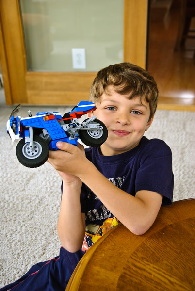 Zach with his Lego motorcycle