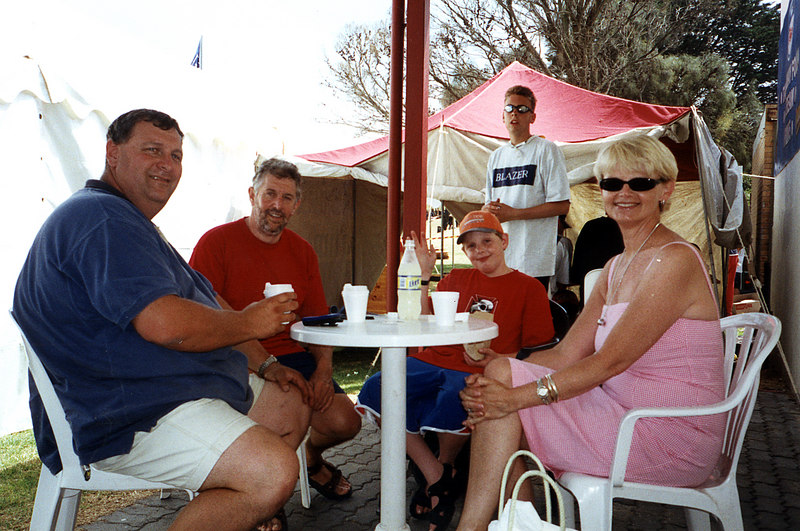 19 Jan 2002<br /> Portsea<br /> Portsea Swim Classic<br /> <br /> L-R<br /> Phil Beattie<br /> Ian Campbell<br /> Rory Campbell<br /> Lisa Campbell