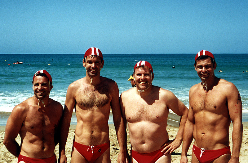 16 Feb 2002<br /> Victorian Masters Championships<br /> Lorne<br /> <br /> Beach Relay<br /> L-R<br /> Henry Kiss<br /> Paul Hunter<br /> Vaughan Carlin<br /> Cameron Hunter