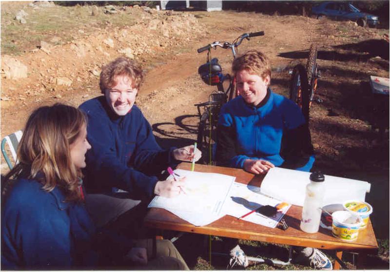 Ruth Paterson, Marcelle Gannon and Blanka Golebiowski (team 46) in preparation