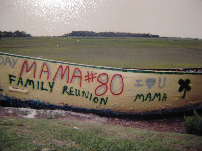 submitted by Tim O'Brien<br /> My family painted the boat twice...once for my mom's 80th birthday (2001) and once for a family reunion at Folly in 2000...