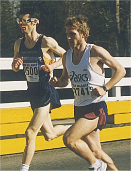 2001 Comox Valley Half Marathon - Dave and Steve share the lead early