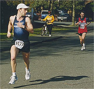 2001 Comox Valley Half Marathon - John Loewen feels the heat from Simon Cowell
