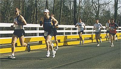 2001 Comox Valley Half Marathon - L-R: Wakelin, Loewen, ?, Blackhall, Fedoruk, ?, Cowell