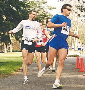 2001 UVic 5K - Pierre Ballester and Chris Paul obscure Mike Stone