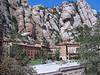 Monastery with surrounding mountains