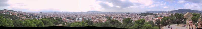 Panorama around Barcelona, from the heights of the Parc Güell
