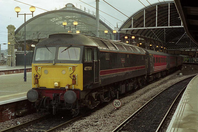 47701 'Waverley' is pictured on arrival at Newcastle with the Summer Saturday 1E33 1002 ex-Paignton (04/08/2001)