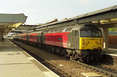 The following morning 47722 'The Queen Mother' waits to depart from Derby with 1E25 0920 to Newcastle (05/08/2001)