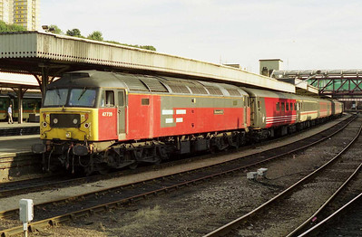 EWS 47739 'Resourceful' waits time at Sheffield with 1E32 1430 Bristol - York, which today was re-routed via Doncaster due to engineering work at Leeds (05/08/2001)