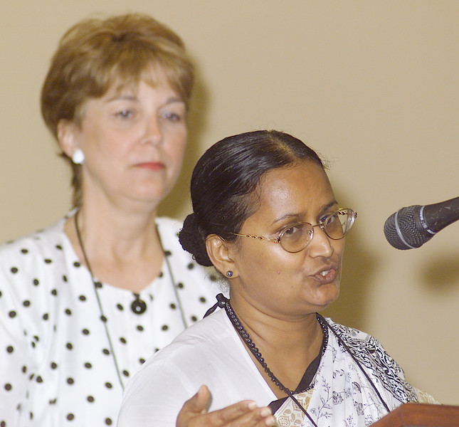 Thursday, July 11, 2002. Philadelphia, PA. Photos by Mike Levin. - Global Education and Advocacy. Speaking to the participants is Priscilla Singh, Secretary for Women in Church and Society desk of LWF looks on, while North American Regional Officer for LWF, Kathy Magnus looks on.