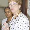 Thursday, July 11, 2002. Philadelphia, PA. Photos by Mike Levin. - Global Education and Advocacy. North American Regional Officer for LWF, Kathy Magnus speaking to the participants while Priscilla Singh, Secretary for Women in Church and Society desk of LWF looks on.