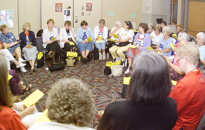Thursday, July 11, 2002. Philadelphia, PA. Photos by Mike Levin. - Global Education and Advocacy. North American Regional Officer for LWF, Kathy Magnus leading a discussion group of ELCA Global Advocates, primarily from the United States.