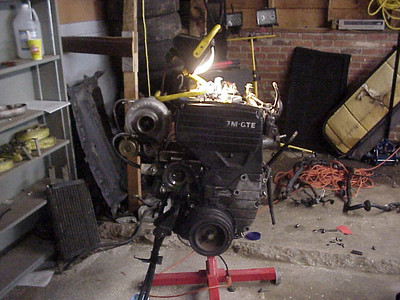 The old engine is looking pretty bare