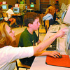 Highglen School Kanata /Tuesday Brent Braaten-June 24/2002  Bryce Faulder, 9, a grade 4 Highglen student gets help navigating the KA-NA-Ta site from his teacher Jean Johnson. Kids from KA-NA-TA is a national educational telecommunications project linking urban and rural Native and non-Native students and teachers via the internet. The students in Mrs Johnson grade 4,5,6 class are able to coinnect with two other schools in Canada one in Big Lake troute Ontario and Sioux Valley School in Griswald Manitoba. This is the only school and class to be involved in the project in the district. The studenbts were required to complete several assignments relating to learning about their own heritage and the heritage of their partner schools. They also were able to write one another via email.