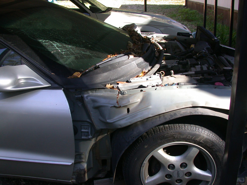 car has frame damage, probably not worth repairing