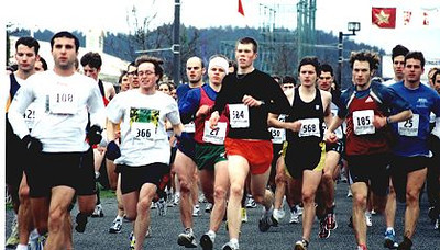 2002 Pioneer 8K - Mark Creery leads the field down the hill at the start