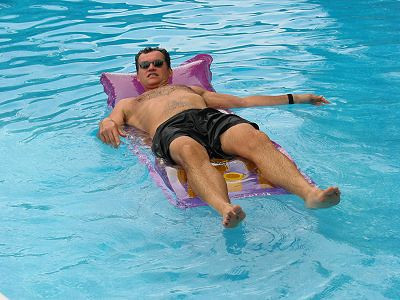 2002 Pool Party - Terry relaxes