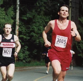 2002 Sooke River 10K - Mike Stone stalks Steve Royer
