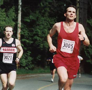 2002 Sooke River 10K - Mike Stone stalks Steve Royer