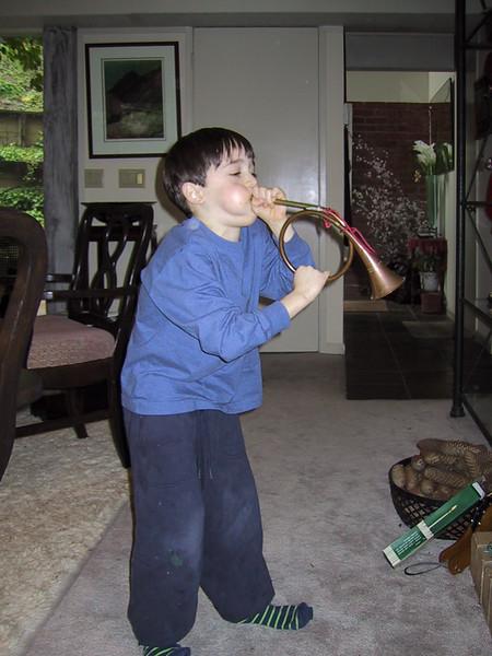 Benjamin blowing the horn