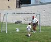 Practicing a goal kick