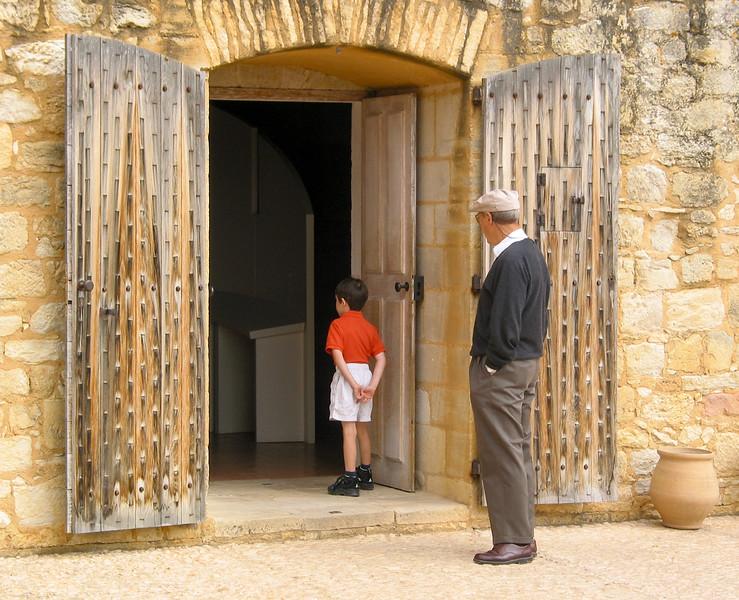Benjamin and Grandpa Tor looking in