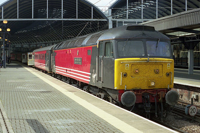 47828 'Severn Valley Railway' is pictured on arrival at Newcastle with the SuO 1E26 0905 from Birmingham New Street (12/05/2002)