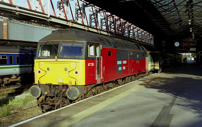 After a celebratory pint or two and a night in the stock/lounge at Holyhead (delete as appropriate - I can't remeber which) 47726 is seen again in somewhat better weather at Chester the next morning with 1G95 0630 Holyhead-Crewe (07/09/2002)