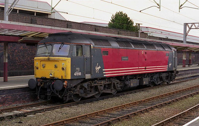 47818 'Strathclyde' is pictured on standby duty for Virgin at Crewe the next morning. I'd had a bit of time on my hands after '799 was failed at Chester on the incoming '1G95' from Holyhead (06/09/2002)