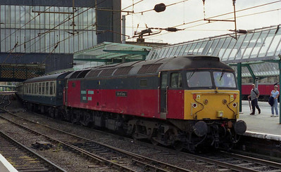 47781 'Isle of Iona' is pictured on arrival at Carlisle with Cheshire Railtours' 1Z40 0600 charter from West Ruislip, which had provided a rare opportunity for a '47'-hauled run through the Chilterns (24/08/2002)