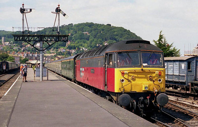 47732 is pictured again at Minehead having run round the train and waiting to shunt the stock to the adjacent platform. The tour returned north as 1Z41 1645 to Leamington (03/08/2002)