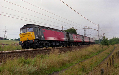 We'd had the official (20/07) and unofficial (04/08) 'last trains', then the 'vice' the previous Friday, but this really was the last '47'-hauled Virgin XC service to the 'North East'. 47854 is pictured on the back of 1S41 as the train heads towards East Ardsley (11/08/2002)