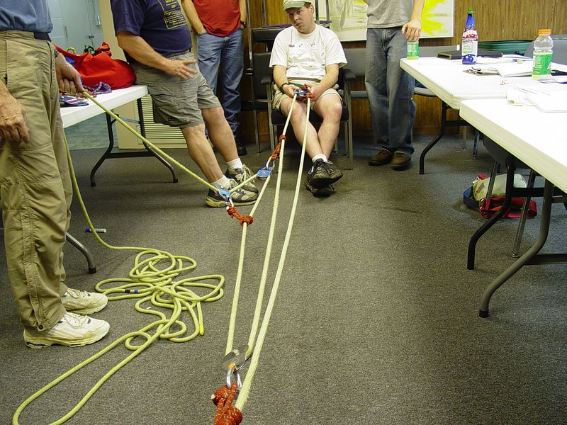"We learned to build a variety of pulley systems utilizing mechanical advantage to move loads that would otherwise be impossible to move .  This photo shows a 9:1 pulley system.  Using this system, it would only require roughly 50 pounds of ""pull"" to move a 450 pound load!"