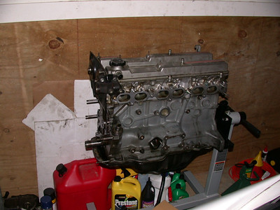 new engine on stand, waiting for accessories