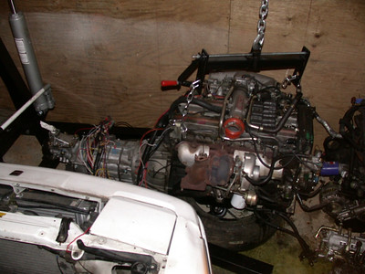 engine and tranny out of the car