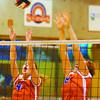 CNC Langara Volleyball-2/Saturday Brent Braaten-Feb 21/2002  CNC Shelley DeMerchant and Deanna Wasnik.