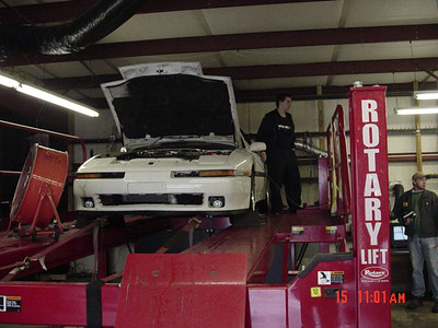 the car on the dyno, shooting once again for 400 rwhp