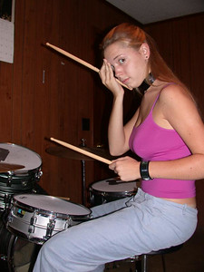 Meg already getting into the tough drummer attitude