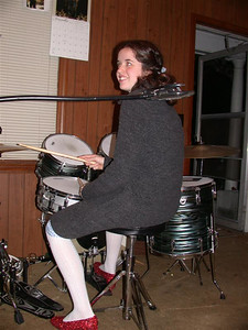 Bryn takes her turn on the wildly popular drumset