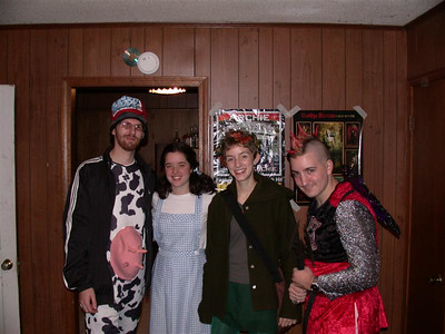 Mike the hip-hop cow, Bryn the Dorothy, Amy the wood nymph, and Dan the Medieval Fairy Knight