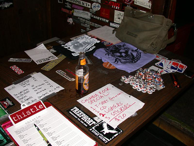 Our merch table