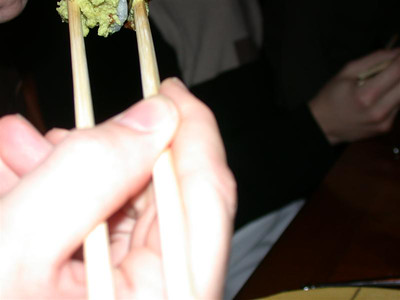 Jeff prepares to eat lots of wasabi