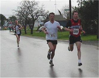 2003 Bazan Bay 5K - Series-long rivals Ian Hallam, John Greaves, Brodie Guild (R-L)