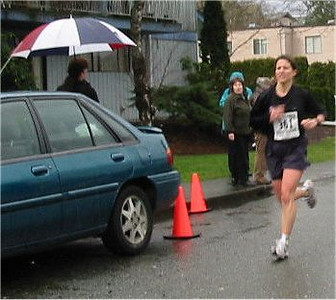 2003 Comox Valley Half Marathon - The water's getting to the lens - but Helena looks good