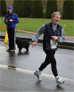 2003 Comox Valley Half Marathon - Roseanne Wilson in the home stretch